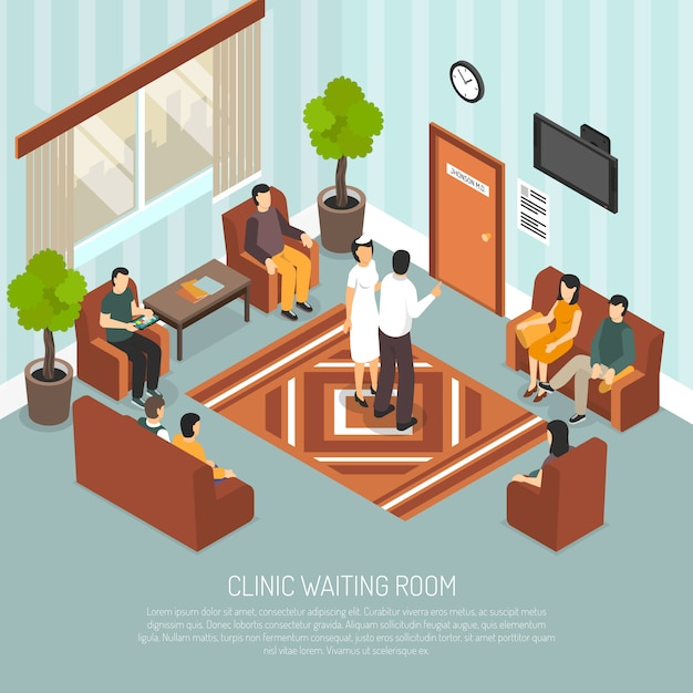 Clinic waiting room isometric illustration Vector | Free