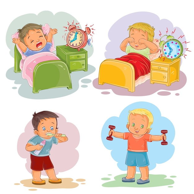 Clip art illustrations of little children wake up in the morning Free Vector