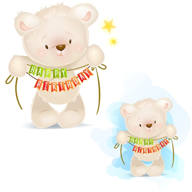 Clip art illustrations of teddy bear wishes you a happy birthday ...