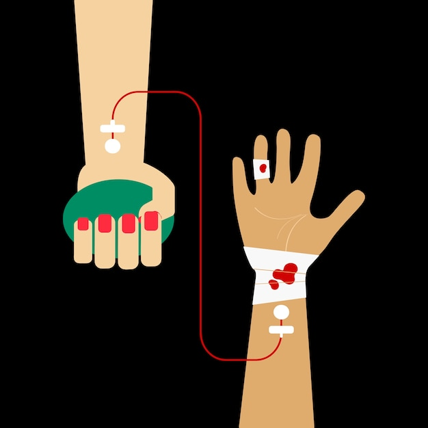 Clipart of blood transfusion vector illustration Free Vector