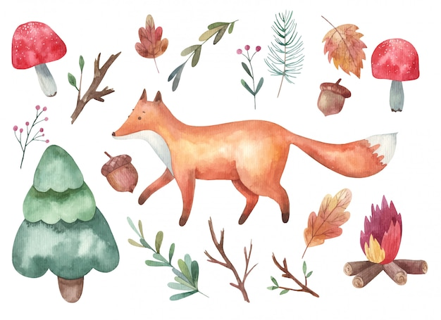 클립 아트, 여우와 숲, 비행 Agaric 버섯, 가지, 가문비, 모닥불 수채화 그림 흰색 배경에 프리미엄 벡터