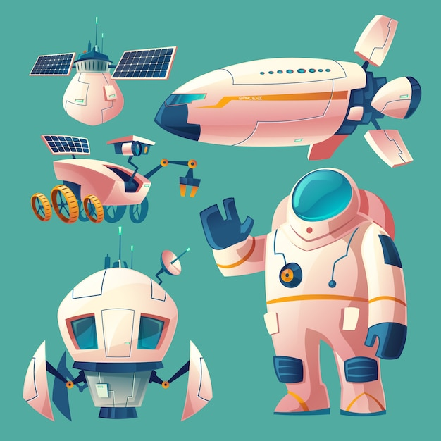 Clipart with objects for space exploration, astronaut in spacesuit, rover, shuttle Free Vector