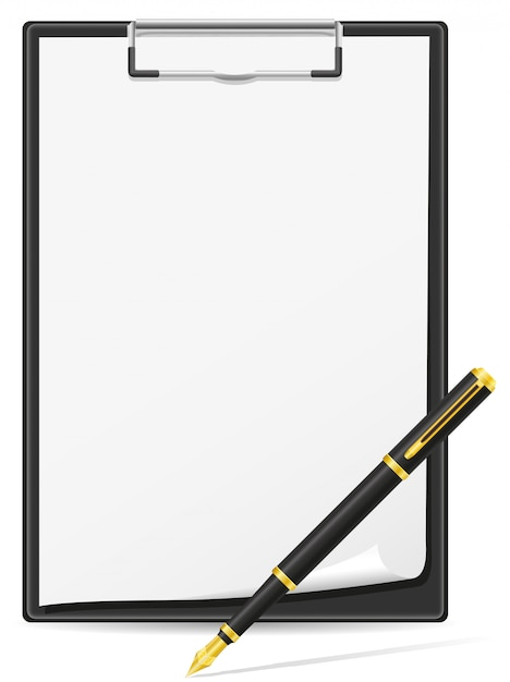 Clipboard blank sheet of paper and pen Premium Vector