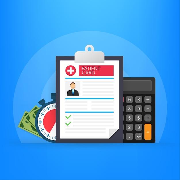 Clipboard in doctors hand illustration Premium Vector