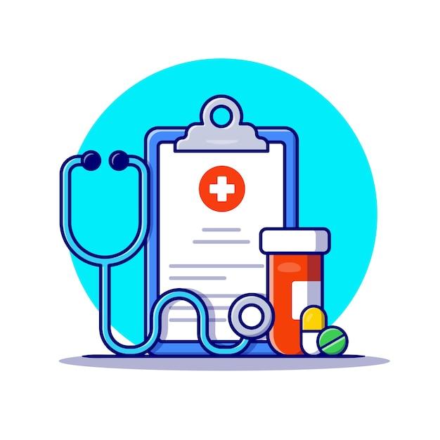 クリップボード、聴診器、瓶と丸薬漫画アイコンイラスト。ヘルスケア医学アイコンの概念 Premiumベクター