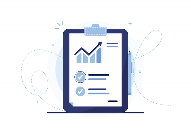 Clipboard vector illustration of analysis list with pen. document with a sales schedule. statistics, rise. sales curve. report sheet. blue notebook, tablet. check mark Premium Vector