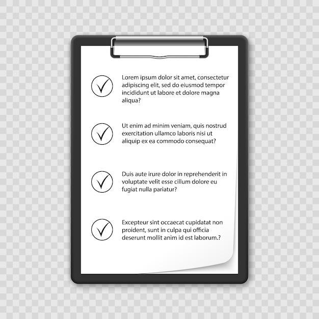 Clipboard with checklist Premium Vector
