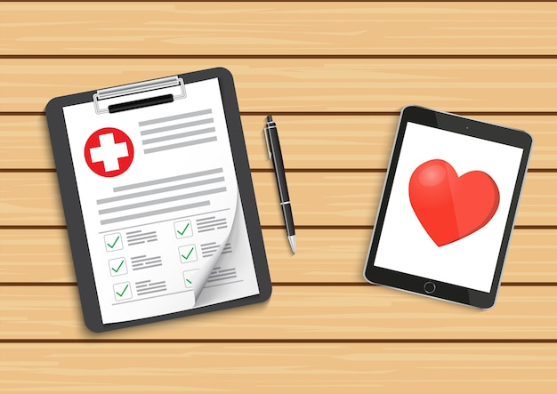 Clipboard with medical cross and tablet. Premium Vector