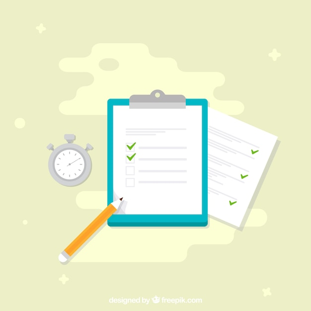 Clipboard with survey and chronometer Free Vector