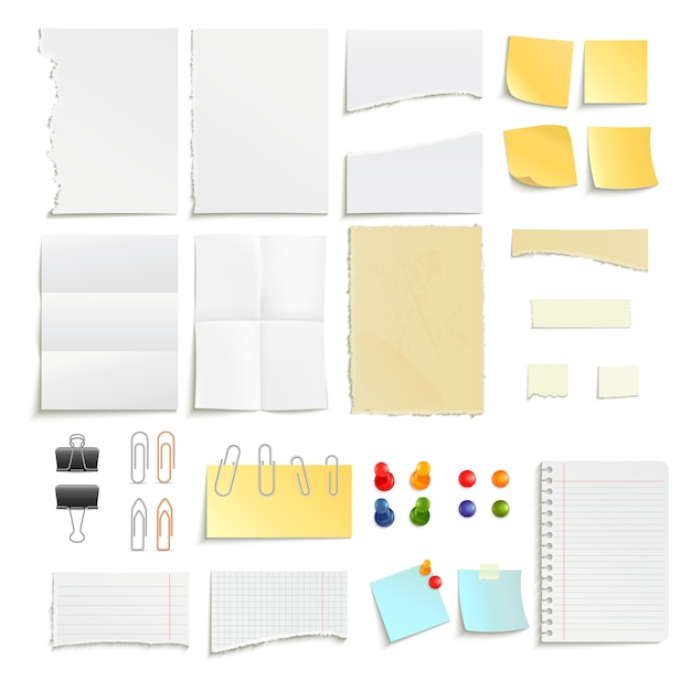 Clips pins and various note paper stripe ragged stick realistic object set Free Vector