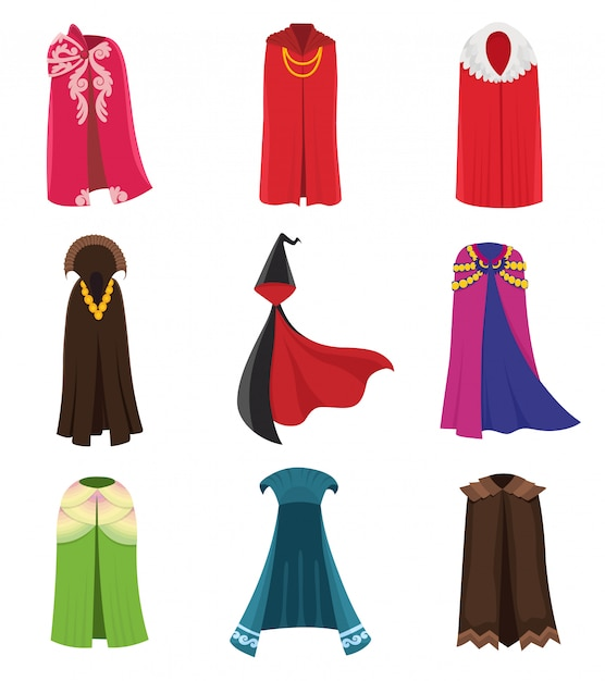 Cloaks party clothing and capes costume set. Premium Vector
