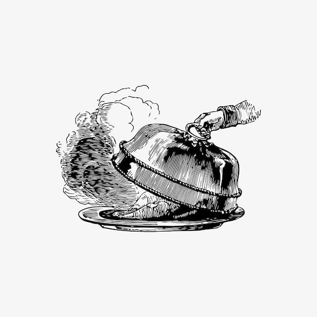 Cloche over a dish Free Vector