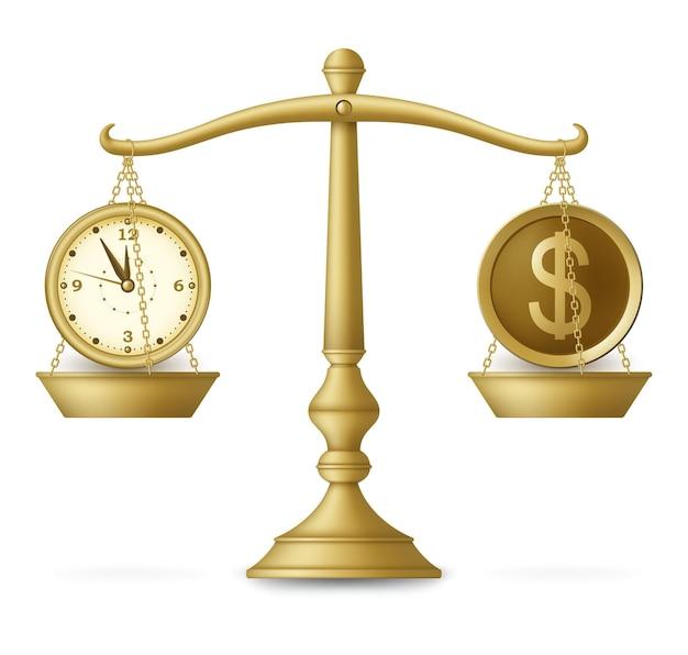 Часы и деньги на сбалансированной шкале. бизнес-концепция. иллюстрация. Premium векторы