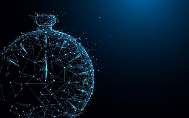 Clock form lines and polygonal Premium Vector