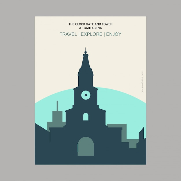 The clock gate and tower at cartagena bola­var, colombia landmark Free Vector