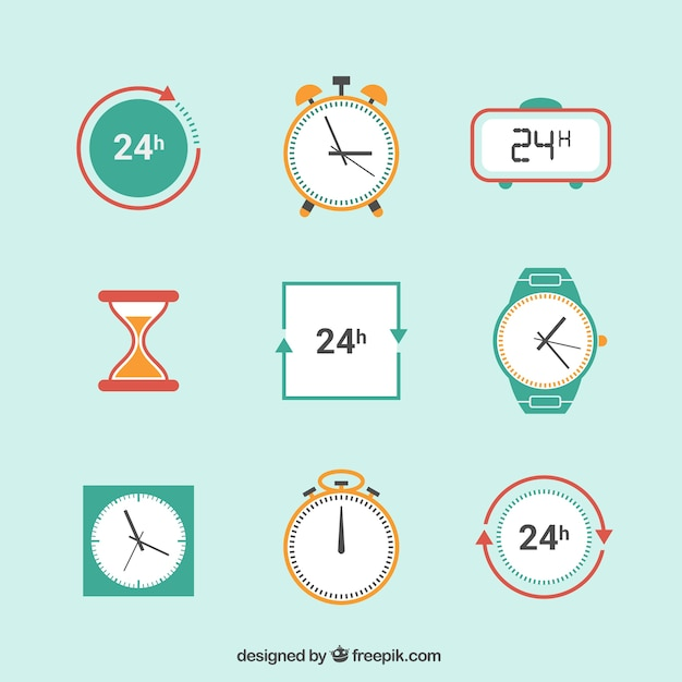 Clock icons Free Vector