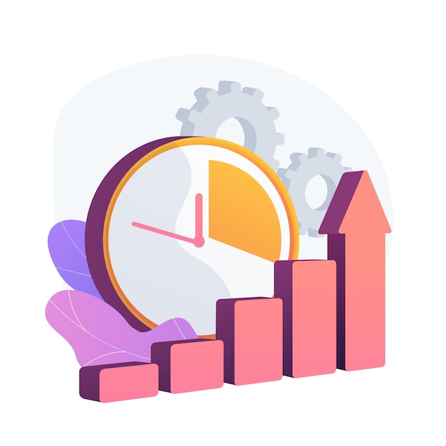 Clock and increasing chart. workflow productivity increase, work performance optimization, efficiency indicator. rising effectiveness metrics. vector isolated concept metaphor illustration Free Vector