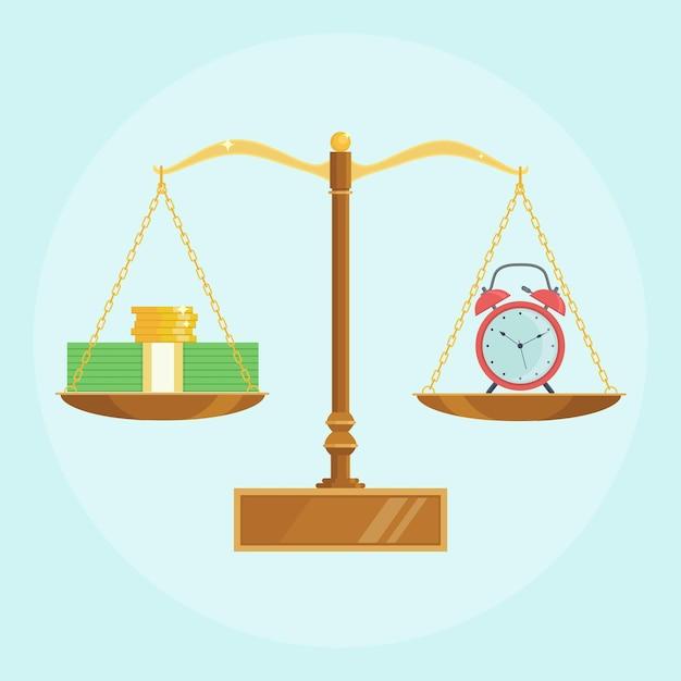 Часы, деньги на весах. годовой доход от банковского вклада, финансовых вложений. время - деньги Premium векторы