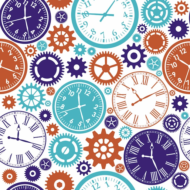 Clock's seamless pattern. color texture of time. Premium Vector