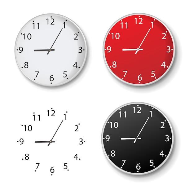 Clock set isolated isolated Premium Vector
