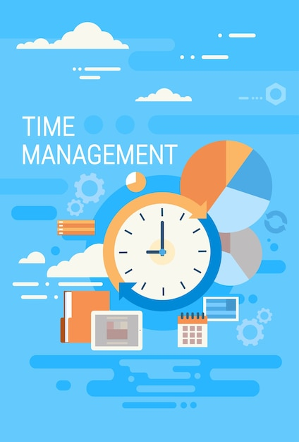 Clock time management concept abstract Premium Vector