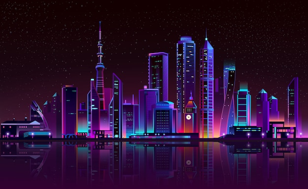 Clock tower on river, glowing city Free Vector