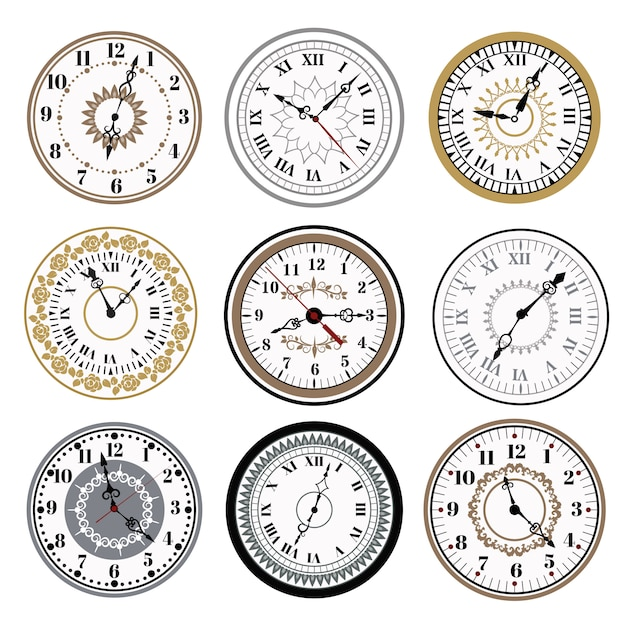 Clock watch alarms vector icons illustration Premium Vector