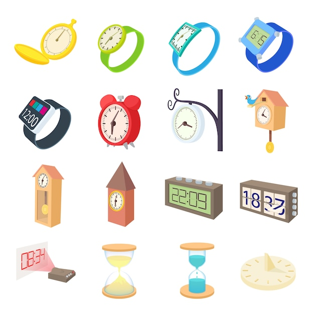 Clock and watch icons set in cartoon style vector Premium Vector