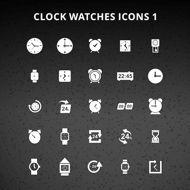Clock and watches icons Free Vector