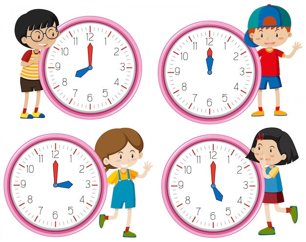Clock with children character Free Vector