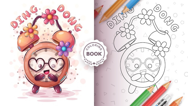 Clock with flower - coloring page Free Vector