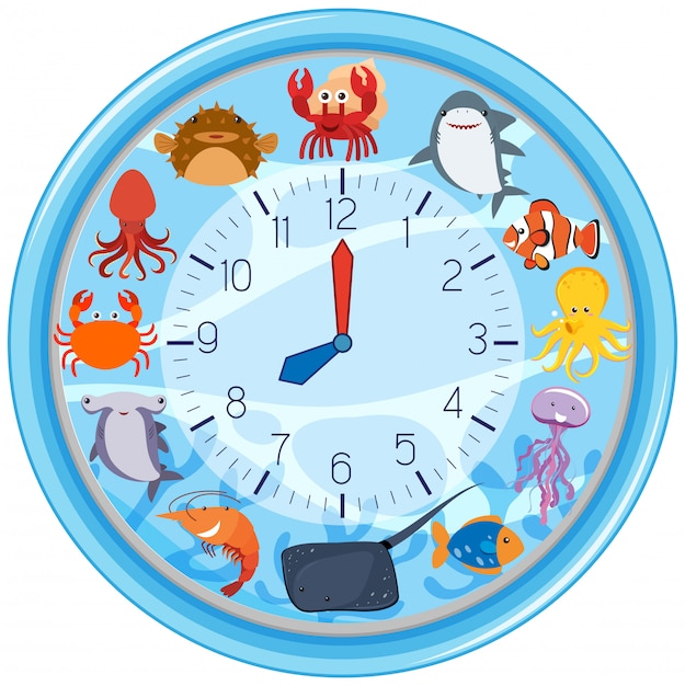 A clock with sea creature template Free Vector