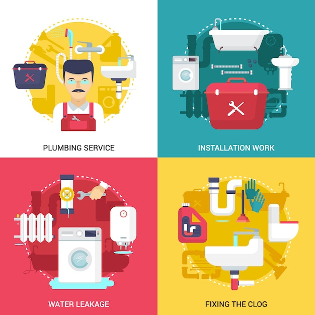 Clogged drains cleaning and installations plumbing service concept Free Vector
