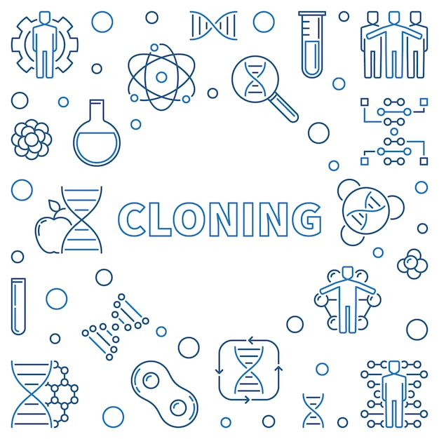 Cloning vector minimal concept illustration in outline style Premium Vector