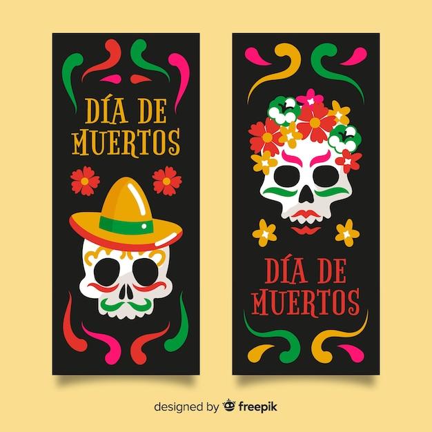 Close-up día de muertos skull banners Free Vector