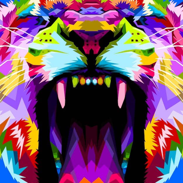 Close up of face angry colorful lion Premium Vector
