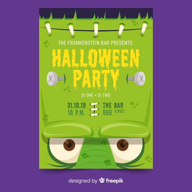 Close-up frankenstein face halloween party poster template Free Vector