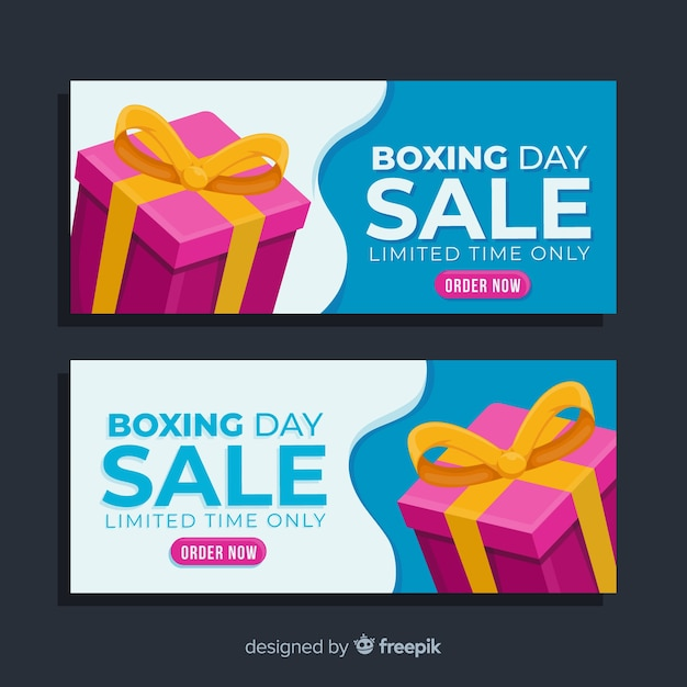 Close-up gift with ribbon flat boxing day banner Free Vector