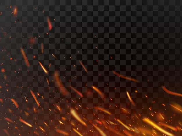 Close-up hot fiery sparkles and flame particles isolated spark Premium Vector