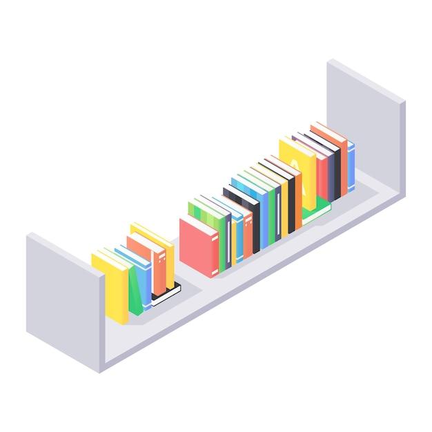 책 아이소 메트릭 일러스트와 함께 현대 선반에 가까이 프리미엄 벡터