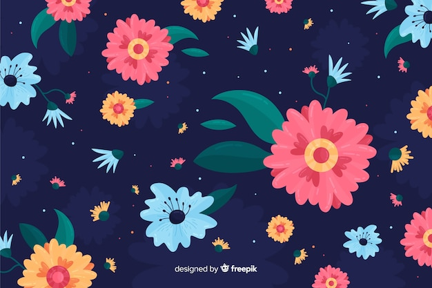 Close-up pink flower on blue background Free Vector