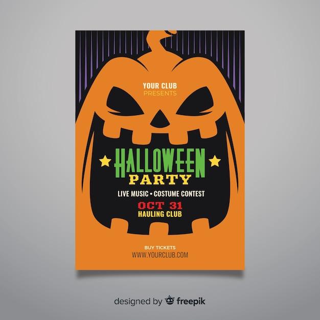 Close-up pumpkin face halloween party poster Free Vector