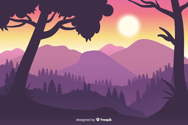 Close-up silhouettes of trees and mountains Free Vector