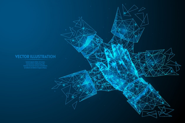 Close-up view on young business people putting hands together. the concept of teamwork, unity, support. innovative medicine and technology. 3d low poly wireframe model illustration. Premium Vector