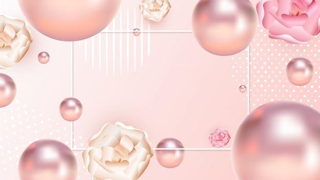 Close view of realistic pearls Premium Vector