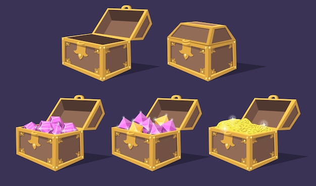 폐쇄 및 오픈 다채로운 보물 상자 평면 아이콘 세트. 보석과 동전 고립 된 벡터 일러스트 레이 션 컬렉션 만화 밝은 해적 가슴. 게임 트로피 및 ui 요소 무료 벡터