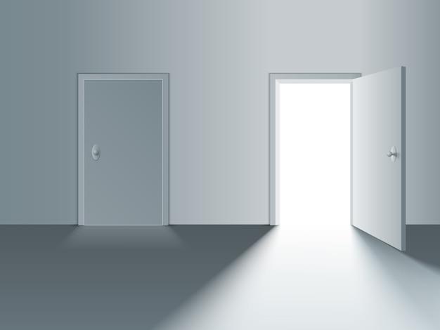 白いドアを開閉します 無料ベクター