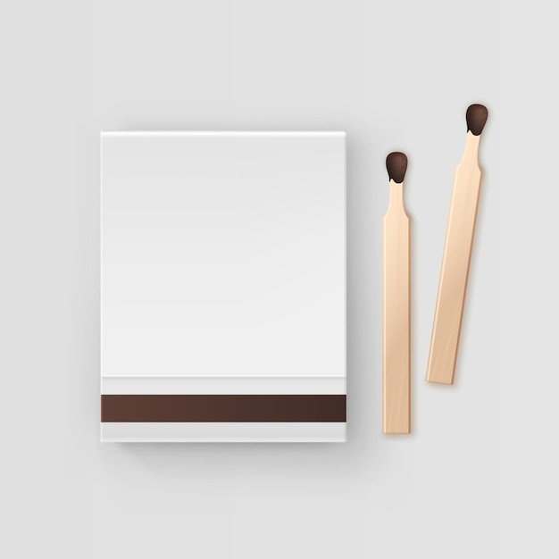 Closed blank book of matches top view  on white background Premium Vector