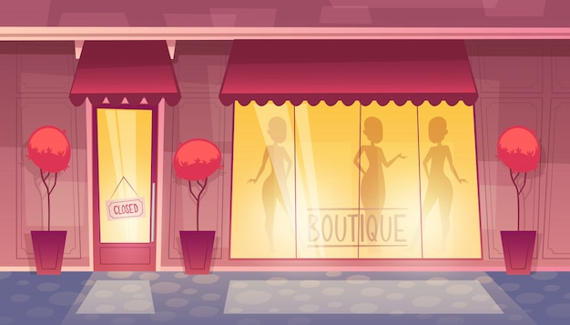 Closed boutique with shop-window, clothing market at evening, night. Free Vector