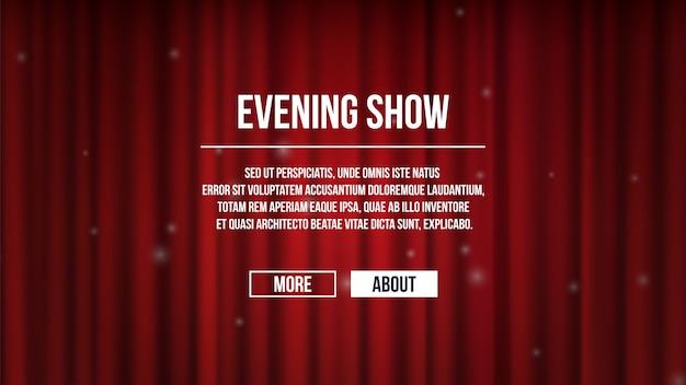 Закрытые шторы. красный атласный фон шторы театра. показать шаблон баннера времени, развлекательная целевая страница. красный занавес для иллюстрации представления развлечения Premium векторы